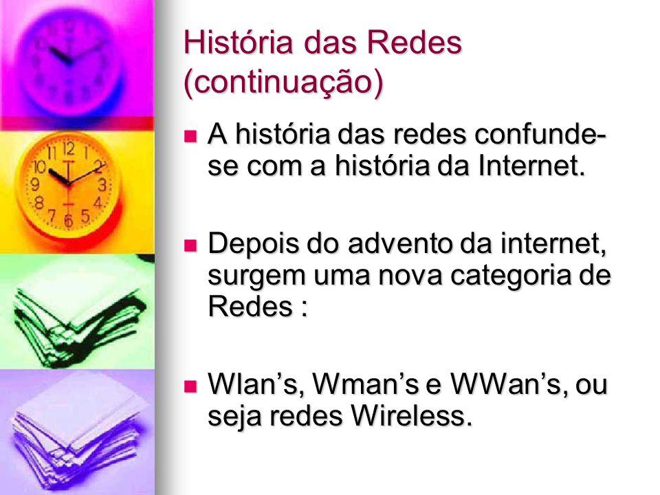 História das Redes (continuação) A história das redes confunde- se com a história da Internet. A história das redes confunde- se com a história da Int