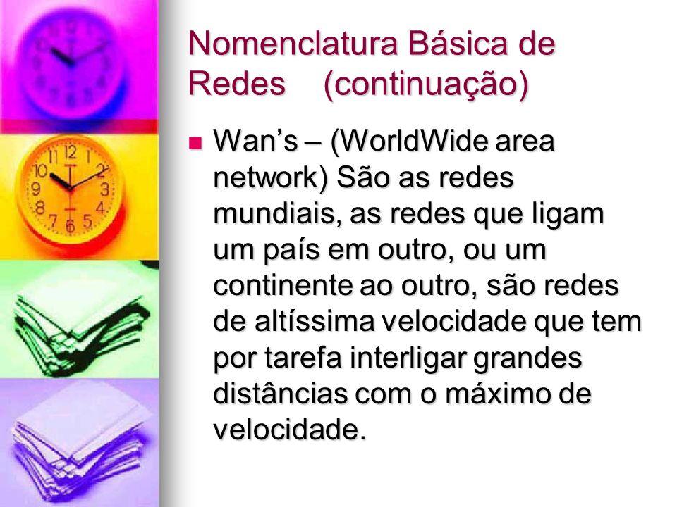 Nomenclatura Básica de Redes(continuação) Wans – (WorldWide area network) São as redes mundiais, as redes que ligam um país em outro, ou um continente