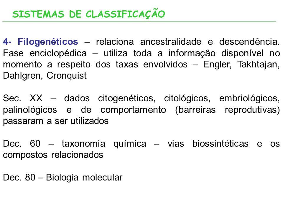 4- Filogenéticos – relaciona ancestralidade e descendência.