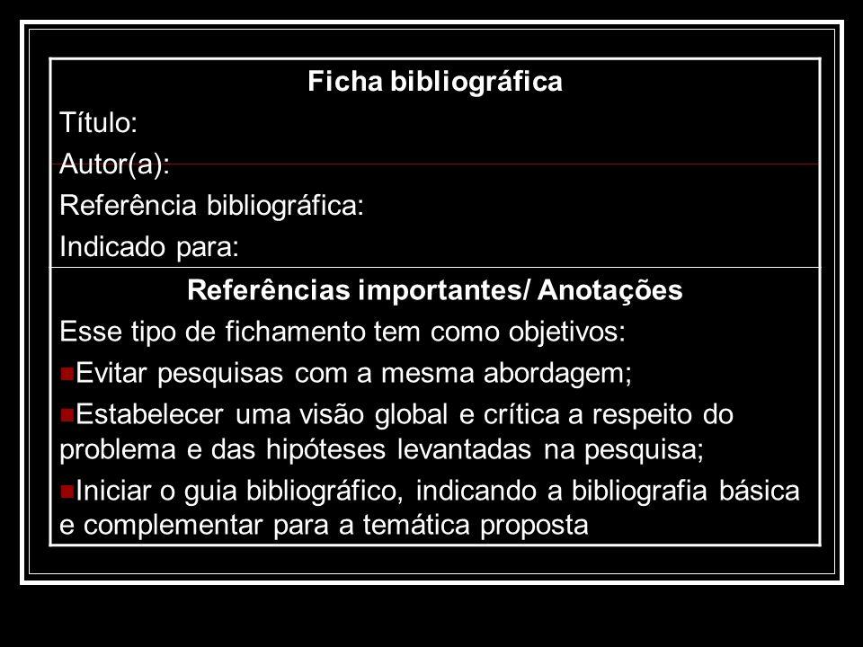 Ficha bibliográfica Título: Autor(a): Referência bibliográfica: Indicado para: Referências importantes/ Anotações Esse tipo de fichamento tem como obj