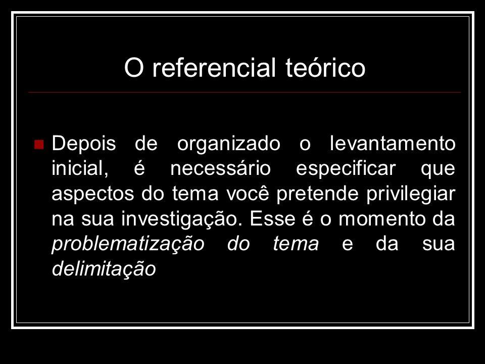 O referencial teórico Depois de organizado o levantamento inicial, é necessário especificar que aspectos do tema você pretende privilegiar na sua investigação.