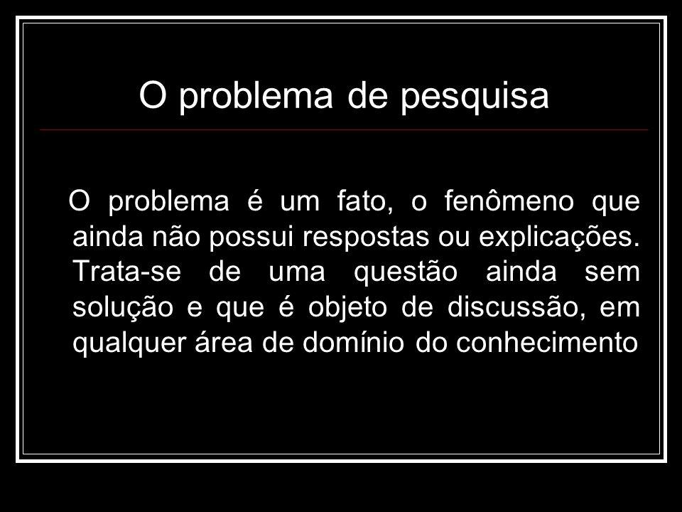 O problema de pesquisa O problema é um fato, o fenômeno que ainda não possui respostas ou explicações.