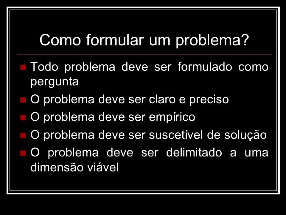 Como formular um problema? Todo problema deve ser formulado como pergunta O problema deve ser claro e preciso O problema deve ser empírico O problema