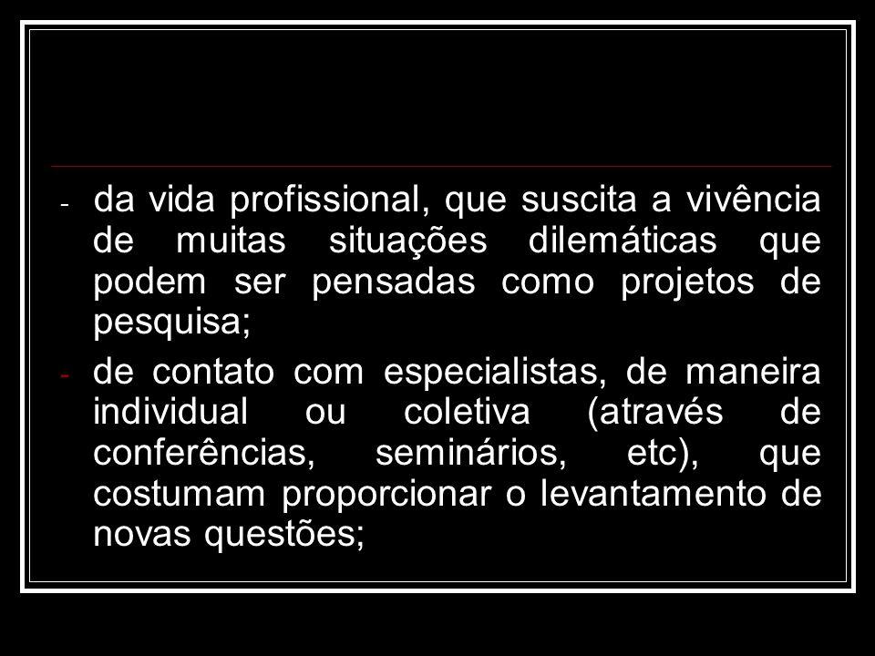 - da vida profissional, que suscita a vivência de muitas situações dilemáticas que podem ser pensadas como projetos de pesquisa; - de contato com especialistas, de maneira individual ou coletiva (através de conferências, seminários, etc), que costumam proporcionar o levantamento de novas questões;