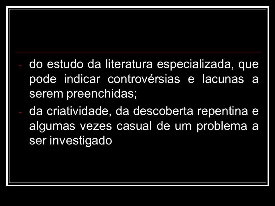 - do estudo da literatura especializada, que pode indicar controvérsias e lacunas a serem preenchidas; - da criatividade, da descoberta repentina e al