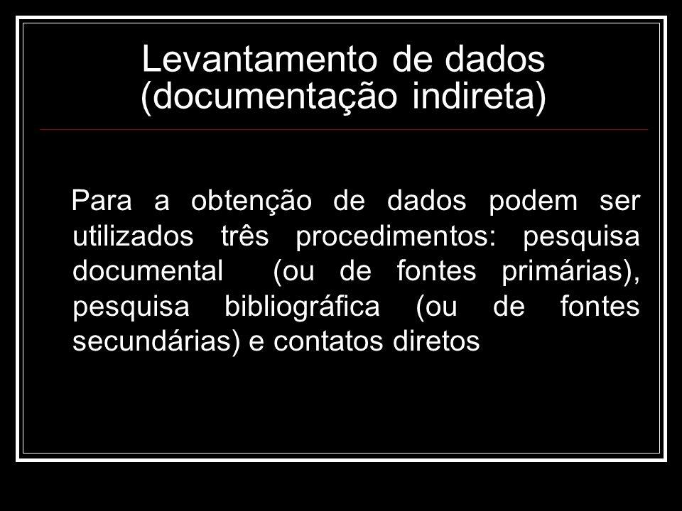 Levantamento de dados (documentação indireta) Para a obtenção de dados podem ser utilizados três procedimentos: pesquisa documental (ou de fontes primárias), pesquisa bibliográfica (ou de fontes secundárias) e contatos diretos