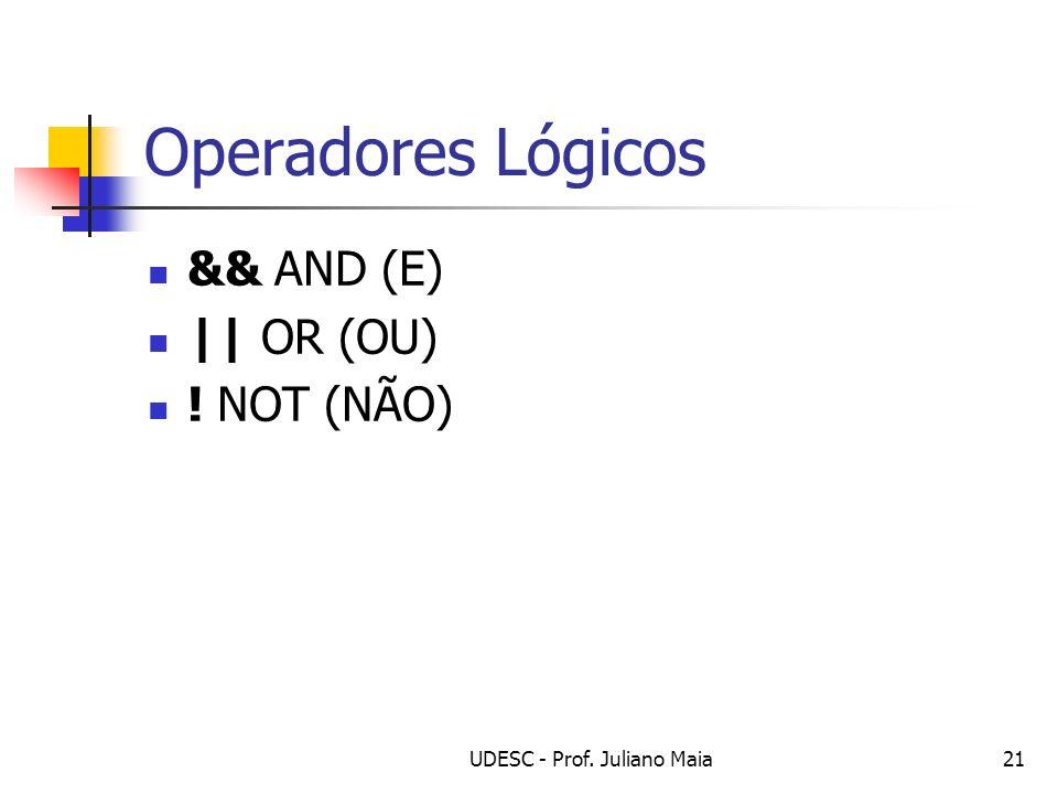 UDESC - Prof. Juliano Maia21 Operadores Lógicos && AND (E) || OR (OU) ! NOT (NÃO)