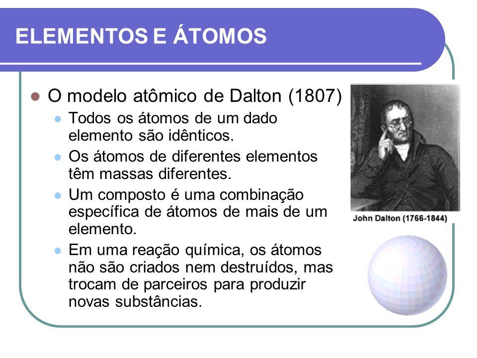 ELEMENTOS E ÁTOMOS O modelo atômico de Dalton (1807) Todos os átomos de um dado elemento são idênticos. Os átomos de diferentes elementos têm massas d