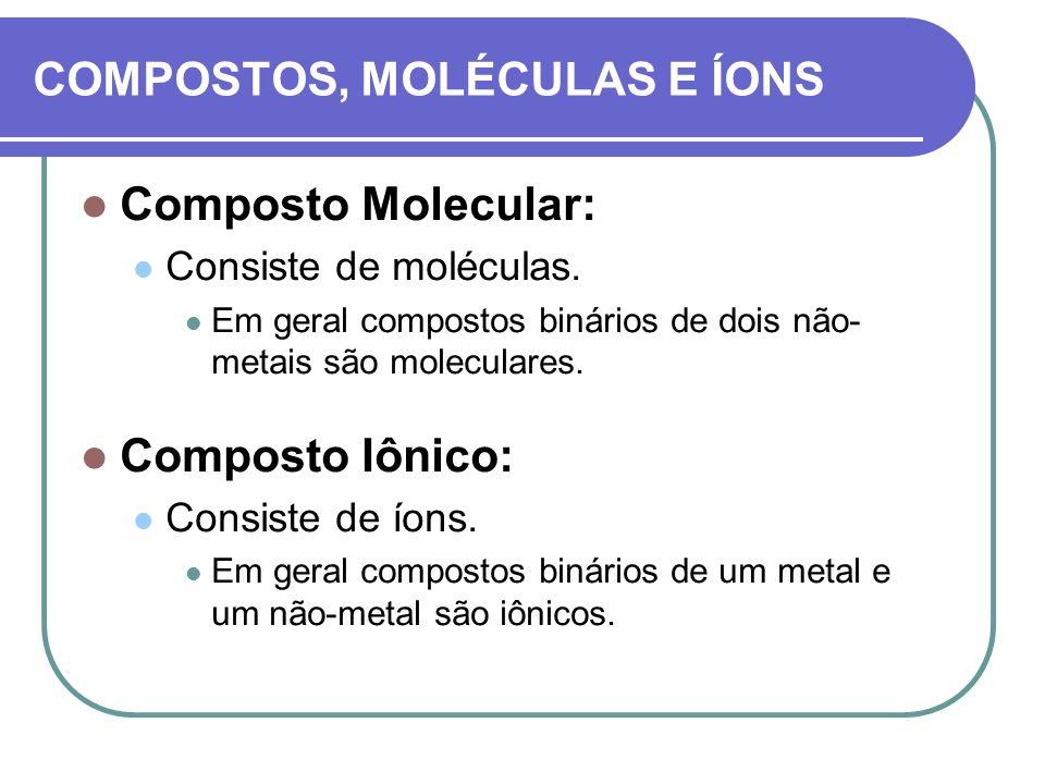 COMPOSTOS, MOLÉCULAS E ÍONS Composto Molecular: Consiste de moléculas. Em geral compostos binários de dois não- metais são moleculares. Composto Iônic