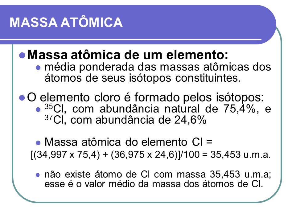 MASSA ATÔMICA Massa atômica de um elemento: média ponderada das massas atômicas dos átomos de seus isótopos constituintes. O elemento cloro é formado