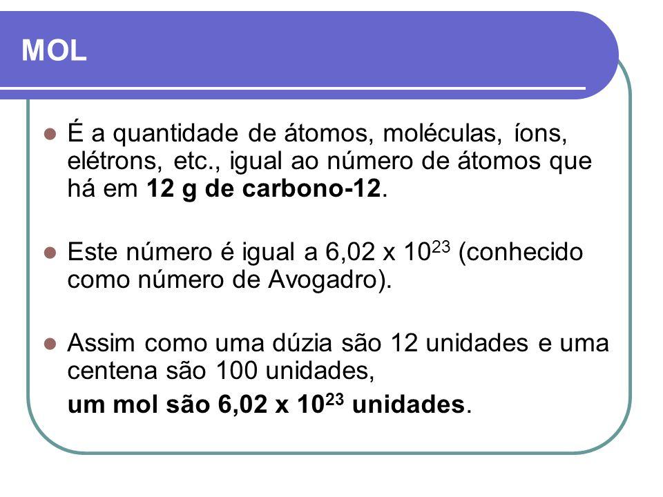MOL É a quantidade de átomos, moléculas, íons, elétrons, etc., igual ao número de átomos que há em 12 g de carbono-12. Este número é igual a 6,02 x 10