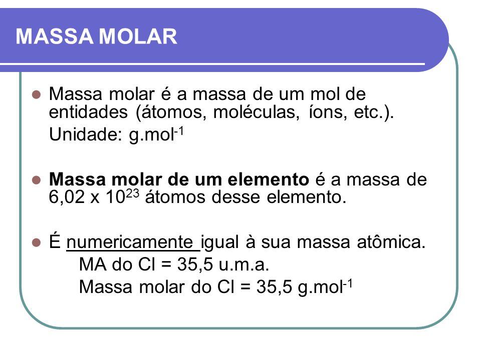 MASSA MOLAR Massa molar é a massa de um mol de entidades (átomos, moléculas, íons, etc.). Unidade: g.mol -1 Massa molar de um elemento é a massa de 6,