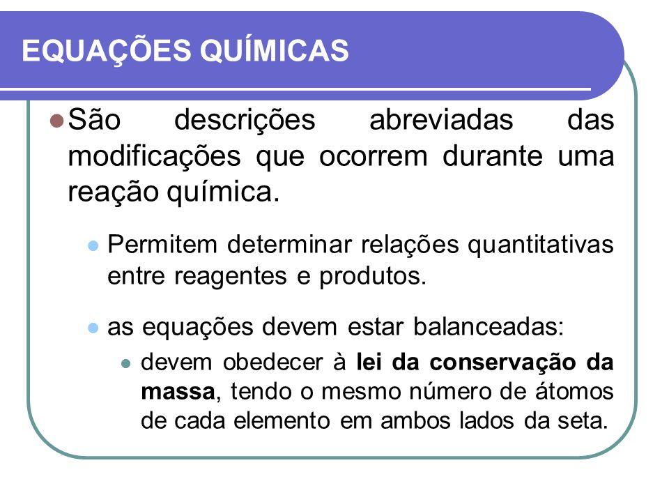 EQUAÇÕES QUÍMICAS São descrições abreviadas das modificações que ocorrem durante uma reação química. Permitem determinar relações quantitativas entre