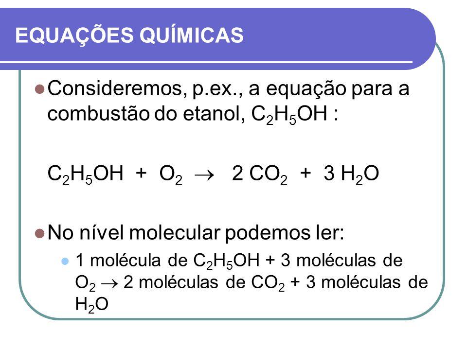 EQUAÇÕES QUÍMICAS Consideremos, p.ex., a equação para a combustão do etanol, C 2 H 5 OH : C 2 H 5 OH + O 2 2 CO 2 + 3 H 2 O No nível molecular podemos