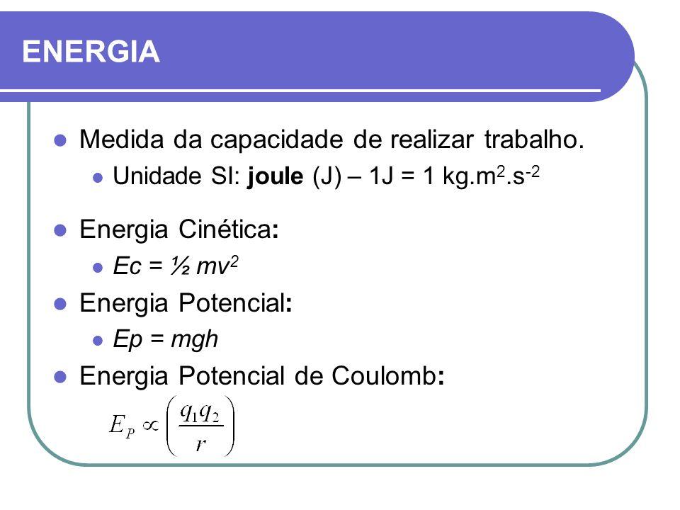 Medida da capacidade de realizar trabalho. Unidade SI: joule (J) – 1J = 1 kg.m 2.s -2 Energia Cinética: Ec = ½ mv 2 Energia Potencial: Ep = mgh Energi