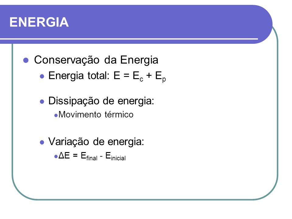 Conservação da Energia Energia total: E = E c + E p Dissipação de energia: Movimento térmico Variação de energia: ΔE = E final - E inicial ENERGIA