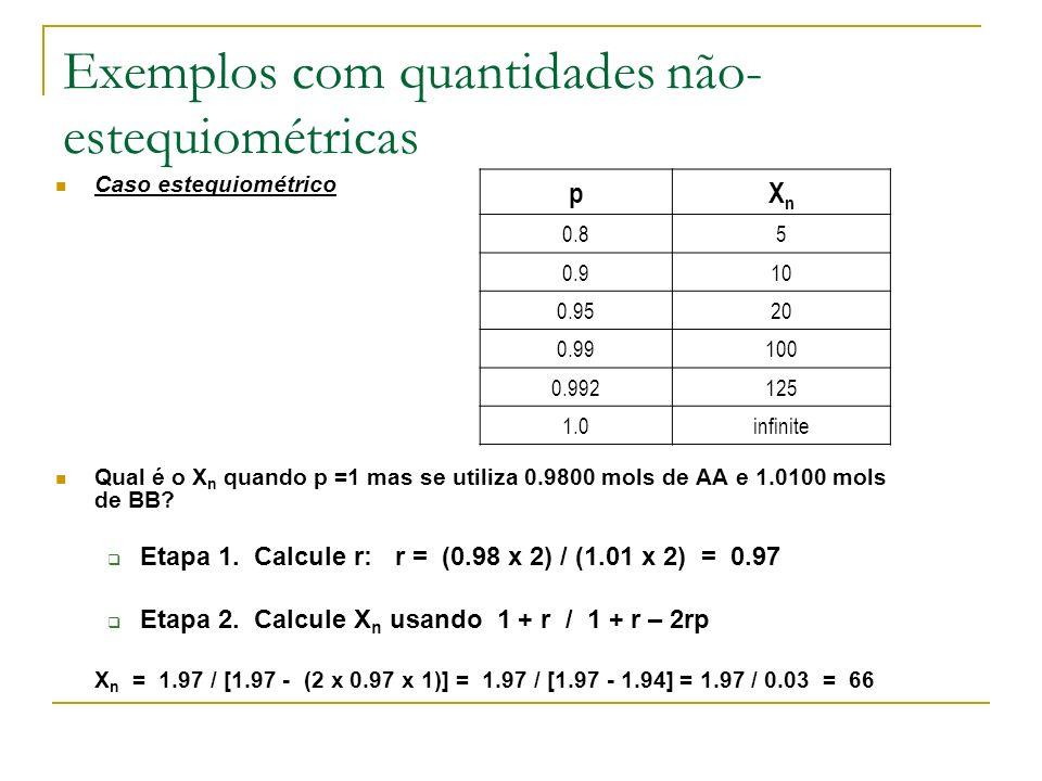 Exemplos com quantidades não- estequiométricas Caso estequiométrico Qual é o X n quando p =1 mas se utiliza 0.9800 mols de AA e 1.0100 mols de BB? Eta