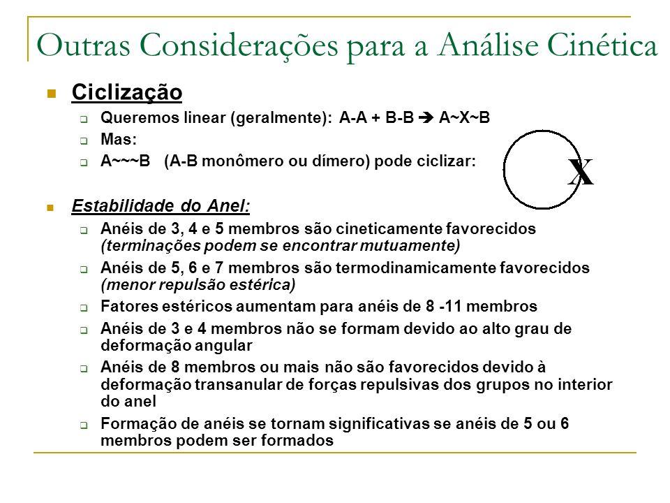 Outras Considerações para a Análise Cinética Ciclização Queremos linear (geralmente): A-A + B-B A~X~B Mas: A~~~B (A-B monômero ou dímero) pode cicliza