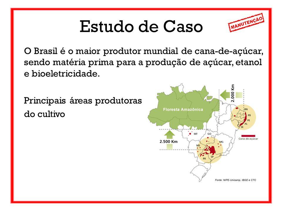 Estudo de Caso O Brasil é o maior produtor mundial de cana-de-açúcar, sendo matéria prima para a produção de açúcar, etanol e bioeletricidade. Princip