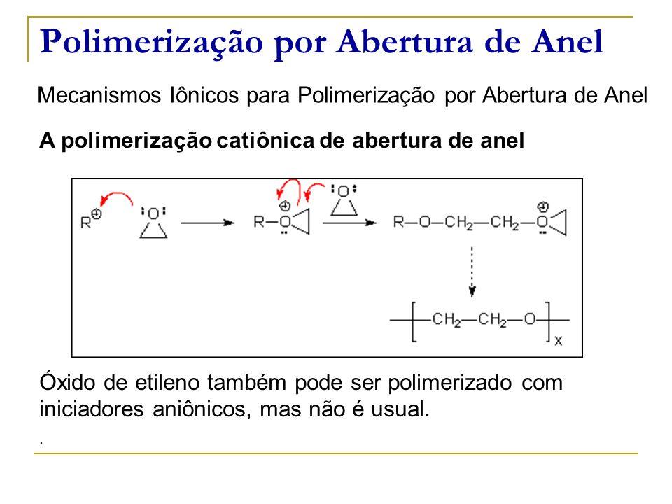 Polimerização por Abertura de Anel Mecanismos Iônicos para Polimerização por Abertura de Anel A polimerização catiônica de abertura de anel Óxido de e