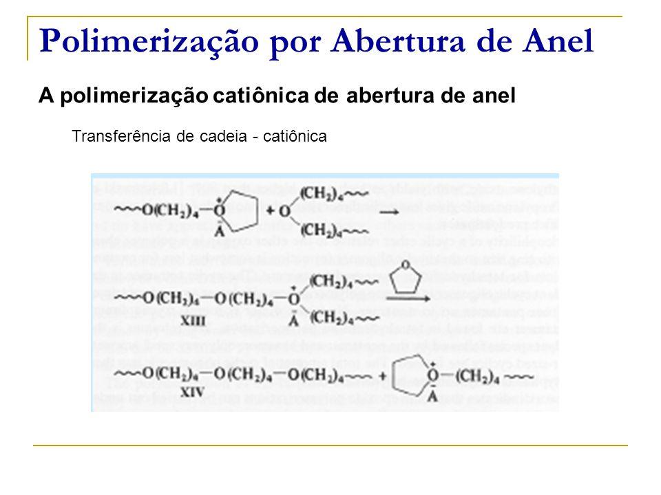 Polimerização por Abertura de Anel A polimerização catiônica de abertura de anel Transferência de cadeia - catiônica