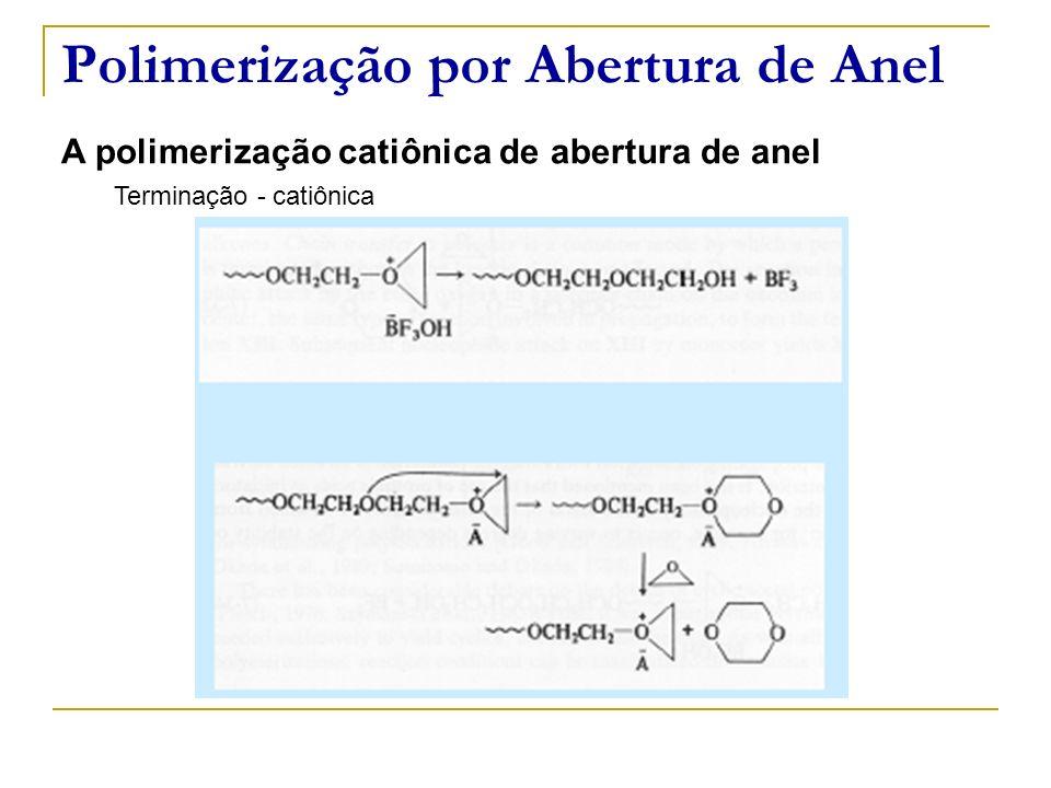 Polimerização por Abertura de Anel A polimerização catiônica de abertura de anel Terminação - catiônica