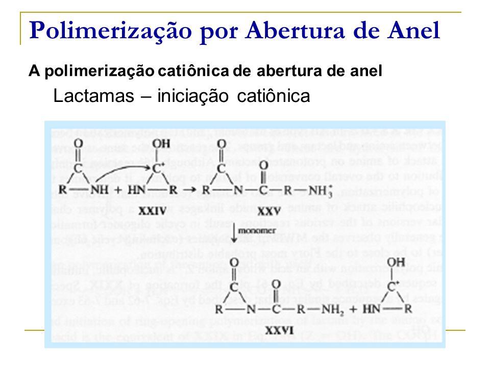 Polimerização por Abertura de Anel A polimerização catiônica de abertura de anel Lactamas – iniciação catiônica