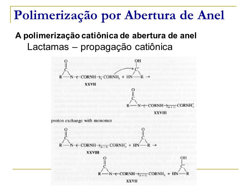 Polimerização por Abertura de Anel A polimerização catiônica de abertura de anel Lactamas – propagação catiônica