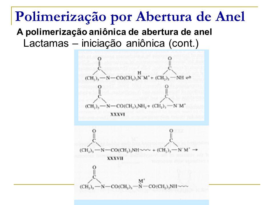 Polimerização por Abertura de Anel A polimerização aniônica de abertura de anel Lactamas – iniciação aniônica (cont.)