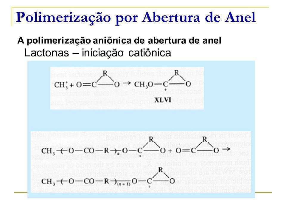 Polimerização por Abertura de Anel A polimerização aniônica de abertura de anel Lactonas – iniciação catiônica