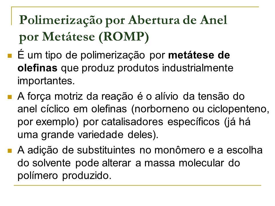 Polimerização por Abertura de Anel por Metátese (ROMP) É um tipo de polimerização por metátese de olefinas que produz produtos industrialmente importa