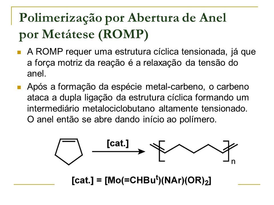 Polimerização por Abertura de Anel por Metátese (ROMP) A ROMP requer uma estrutura cíclica tensionada, já que a força motriz da reação é a relaxação d