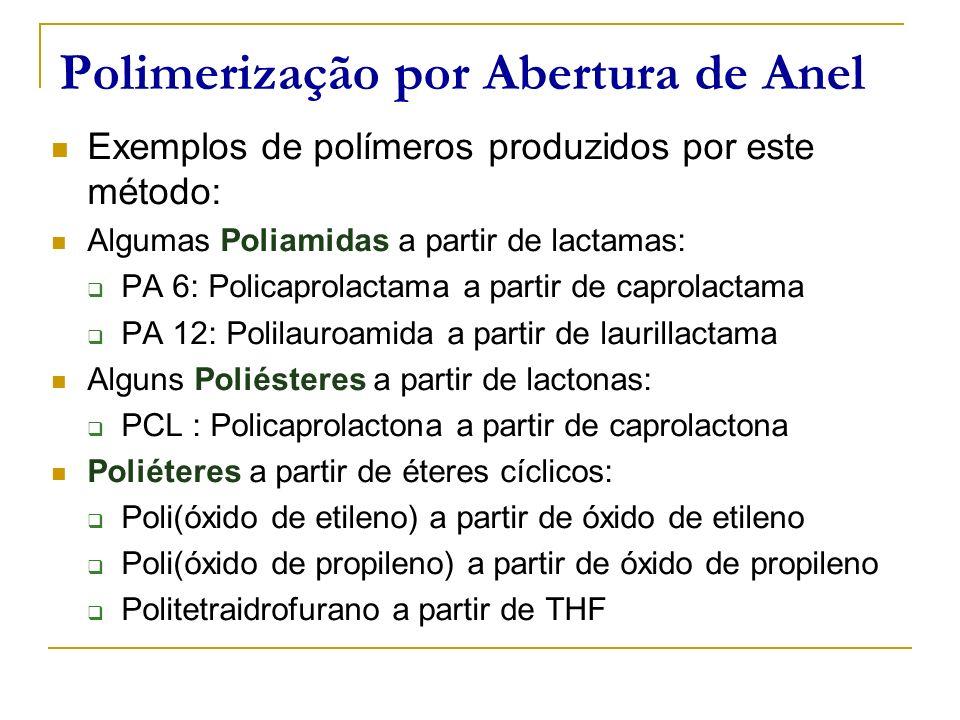 Polimerização por Abertura de Anel Exemplos de polímeros produzidos por este método: Algumas Poliamidas a partir de lactamas: PA 6: Policaprolactama a