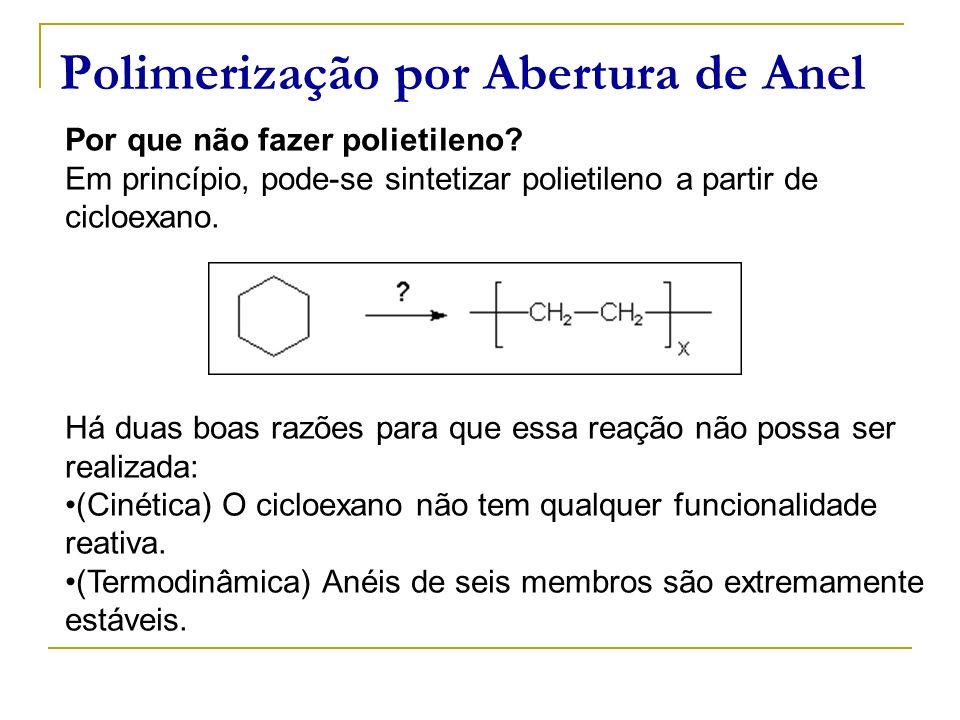 Polimerização por Abertura de Anel Por que não fazer polietileno? Em princípio, pode-se sintetizar polietileno a partir de cicloexano. Há duas boas ra