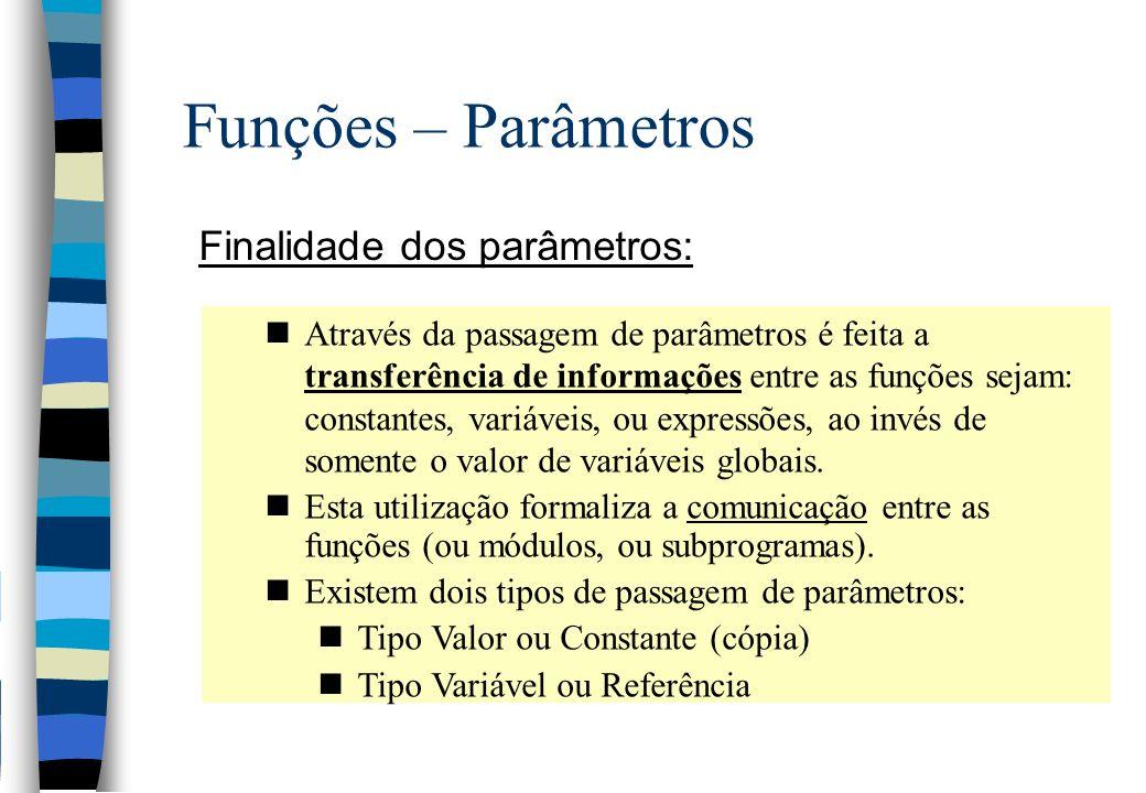 Funções – Parâmetros Finalidade dos parâmetros: nAtravés da passagem de parâmetros é feita a transferência de informações entre as funções sejam: cons