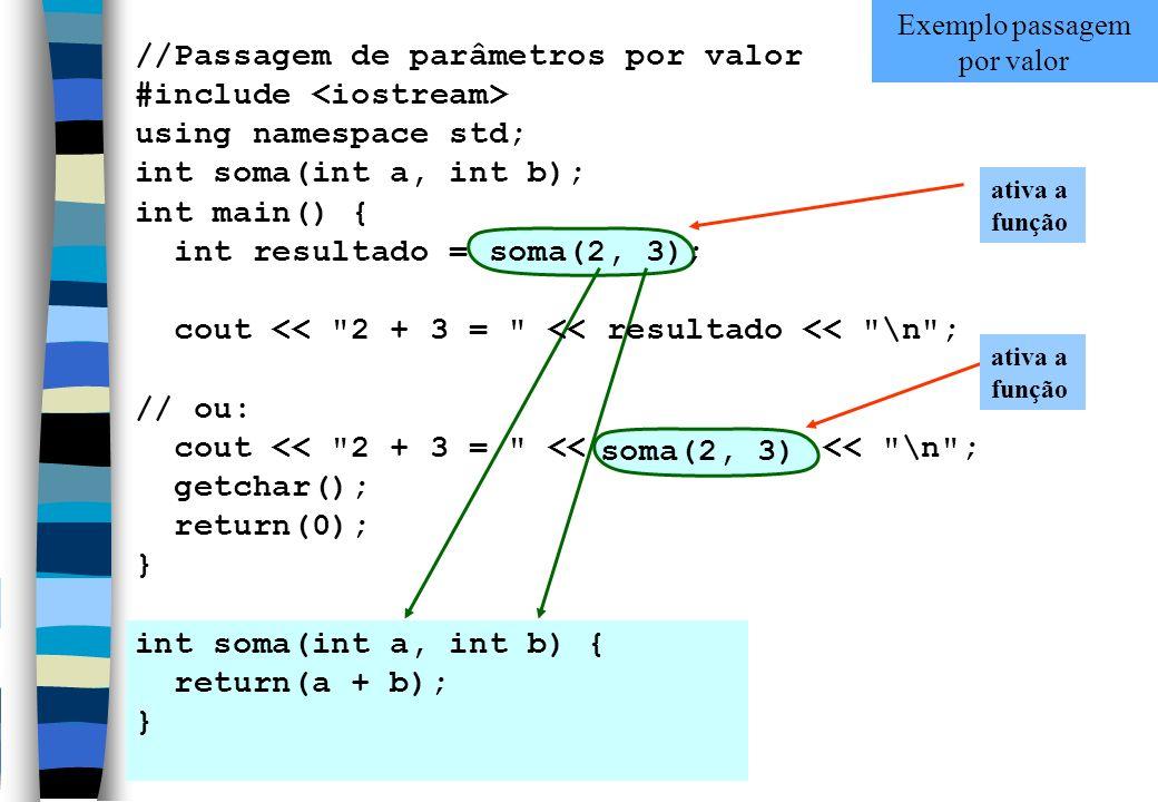 ativa a função //Passagem de parâmetros por valor #include using namespace std; int soma(int a, int b); int main() { int resultado = soma(2, 3); cout