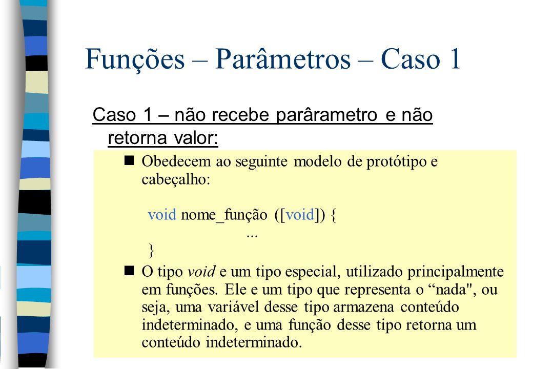 Funções – Parâmetros – Caso 1 Caso 1 – não recebe parârametro e não retorna valor: nObedecem ao seguinte modelo de protótipo e cabeçalho: void nome_fu