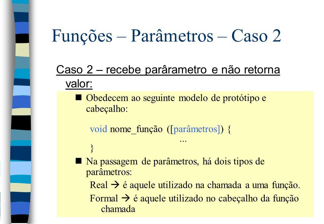 Funções – Parâmetros – Caso 2 Caso 2 – recebe parârametro e não retorna valor: nObedecem ao seguinte modelo de protótipo e cabeçalho: void nome_função