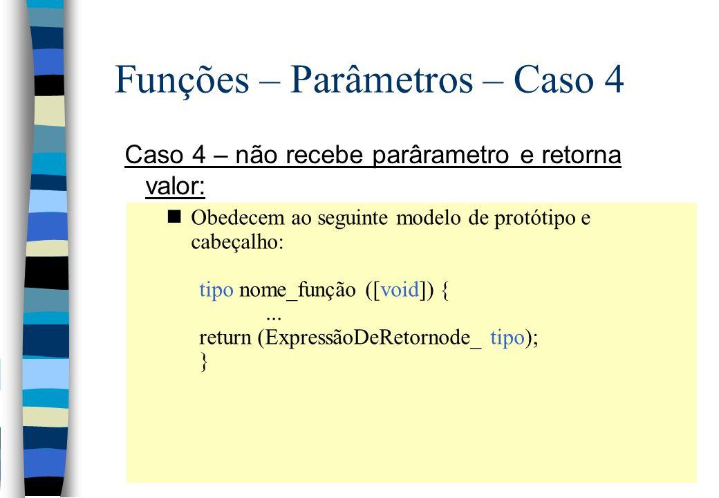 Funções – Parâmetros – Caso 4 Caso 4 – não recebe parârametro e retorna valor: nObedecem ao seguinte modelo de protótipo e cabeçalho: tipo nome_função