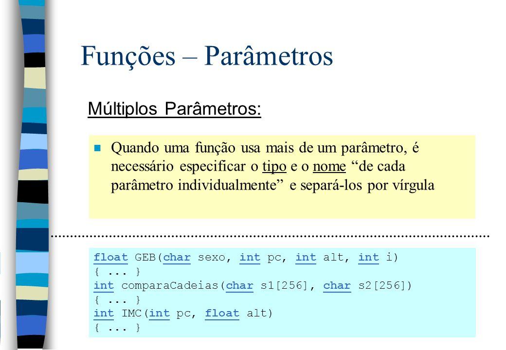 Funções – Parâmetros Múltiplos Parâmetros: n Quando uma função usa mais de um parâmetro, é necessário especificar o tipo e o nome de cada parâmetro in