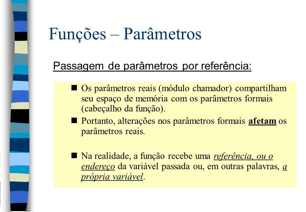 Funções – Parâmetros Passagem de parâmetros por referência: nOs parâmetros reais (módulo chamador) compartilham seu espaço de memória com os parâmetro