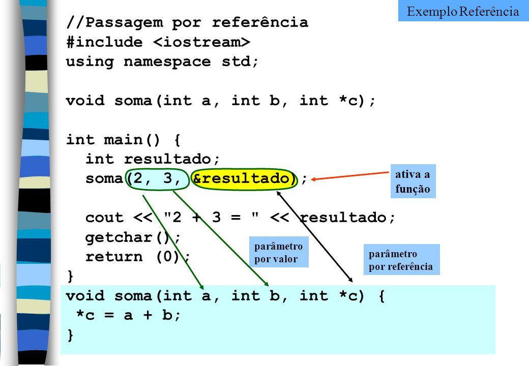 ativa a função parâmetro por valor parâmetro por referência //Passagem por referência #include using namespace std; void soma(int a, int b, int *c); i