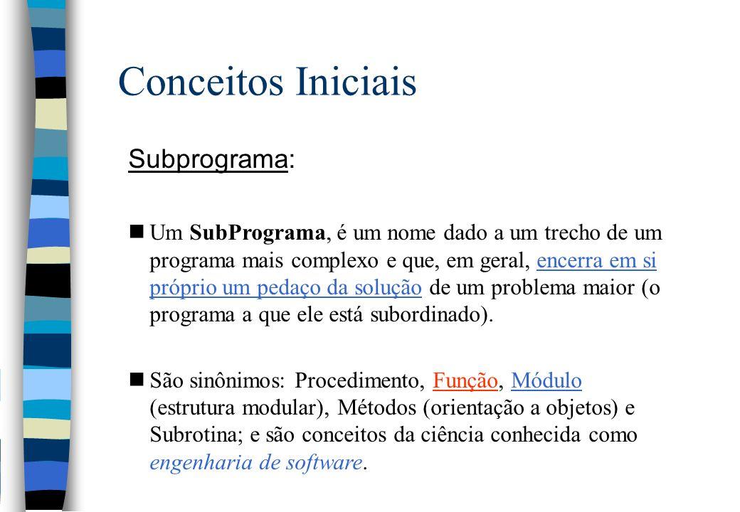 Conceitos Iniciais Subprograma: nUm SubPrograma, é um nome dado a um trecho de um programa mais complexo e que, em geral, encerra em si próprio um ped