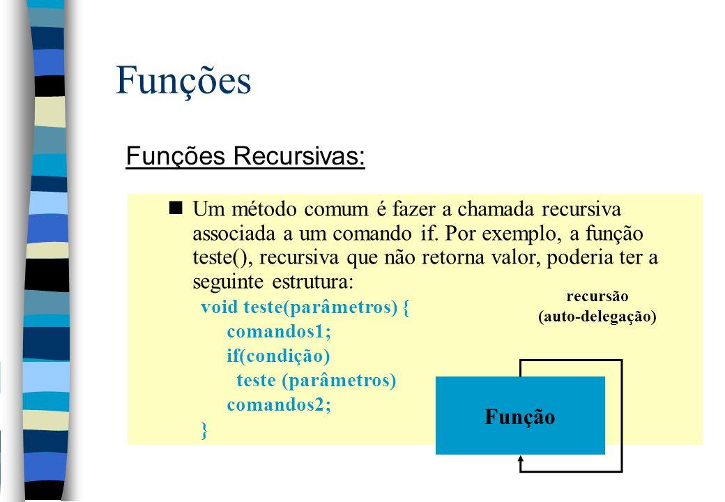 Funções Funções Recursivas: nUm método comum é fazer a chamada recursiva associada a um comando if. Por exemplo, a função teste(), recursiva que não r