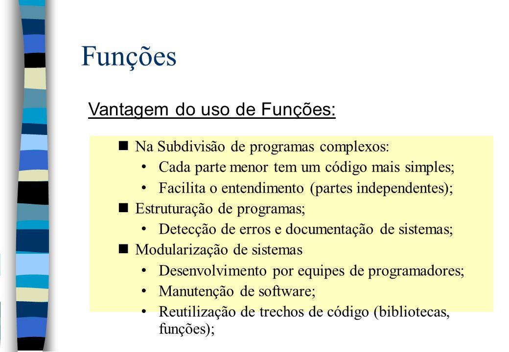 Funções Vantagem do uso de Funções: nNa Subdivisão de programas complexos: Cada parte menor tem um código mais simples; Facilita o entendimento (parte