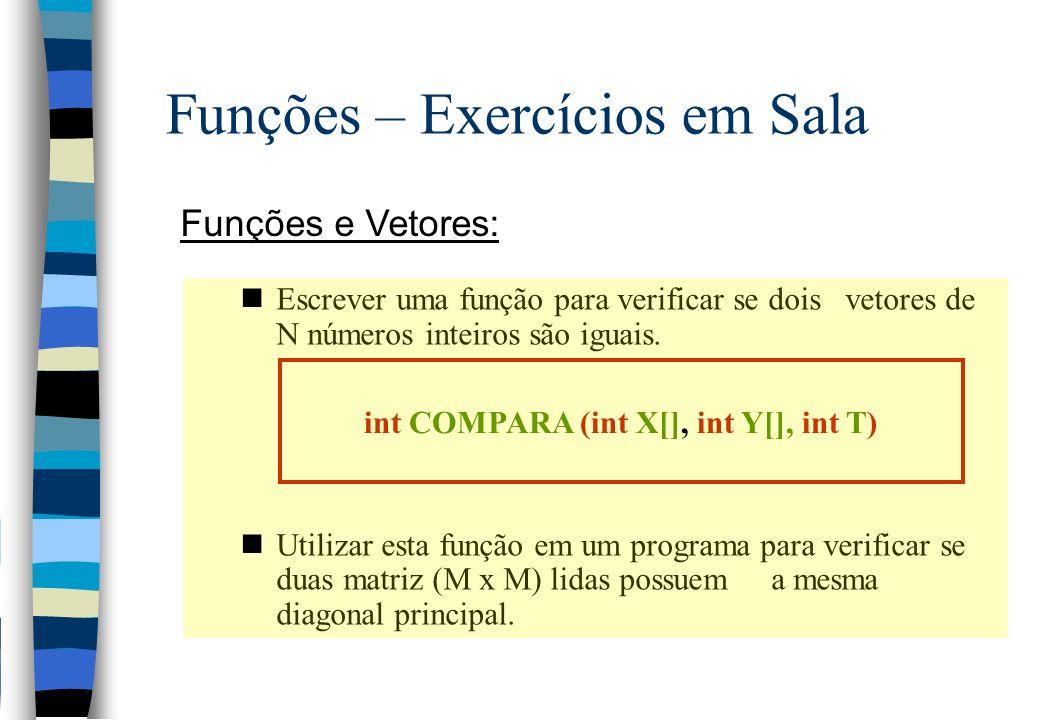 Funções – Exercícios em Sala Funções e Vetores: nEscrever uma função para verificar se dois vetores de N números inteiros são iguais. nUtilizar esta f