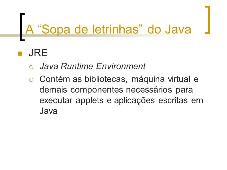 A Sopa de letrinhas do Java JRE Java Runtime Environment Contém as bibliotecas, máquina virtual e demais componentes necessários para executar applets e aplicações escritas em Java