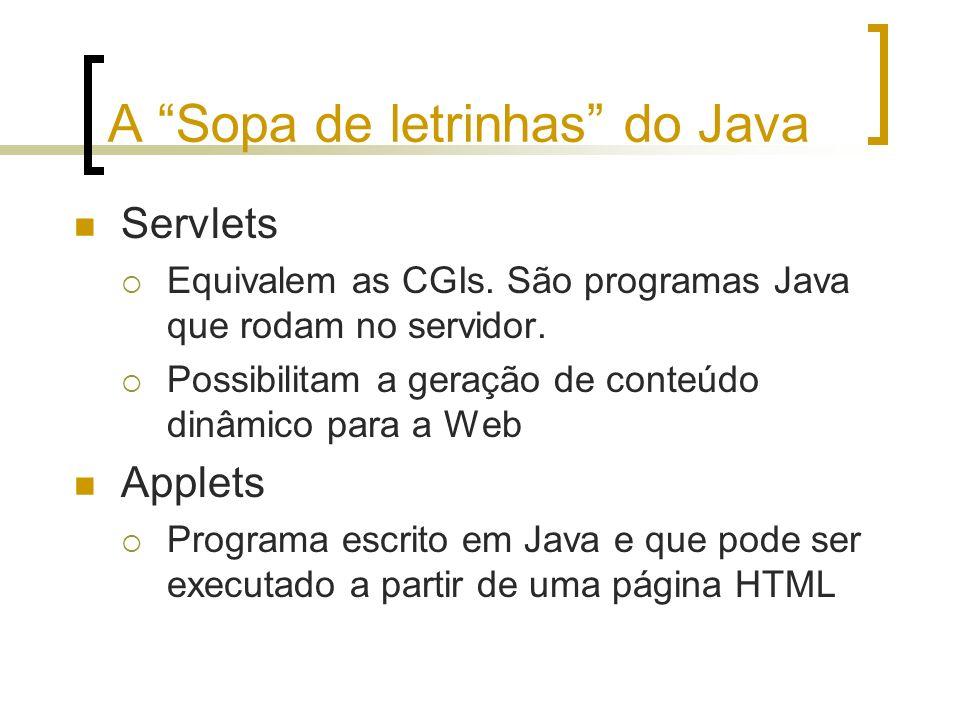 A Sopa de letrinhas do Java Servlets Equivalem as CGIs. São programas Java que rodam no servidor. Possibilitam a geração de conteúdo dinâmico para a W