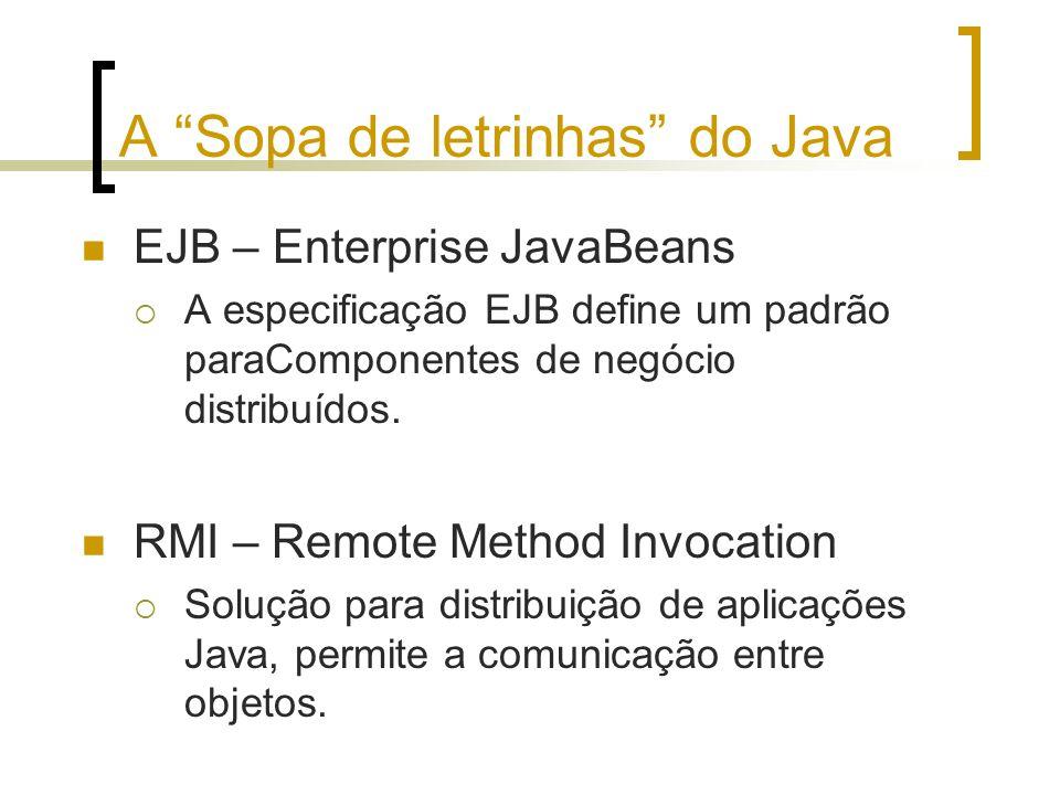 A Sopa de letrinhas do Java EJB – Enterprise JavaBeans A especificação EJB define um padrão paraComponentes de negócio distribuídos. RMI – Remote Meth