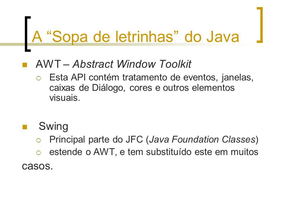 A Sopa de letrinhas do Java AWT – Abstract Window Toolkit Esta API contém tratamento de eventos, janelas, caixas de Diálogo, cores e outros elementos visuais.